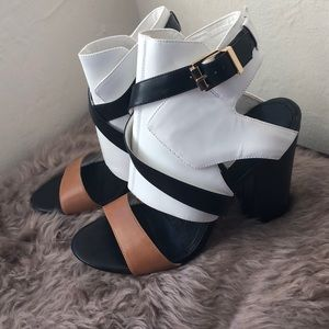 Guess tri colored chunky heels